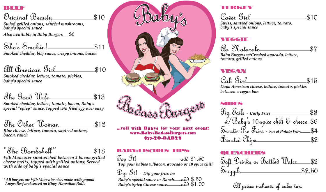 Baby's Badass Burgers Los Angeles Menu