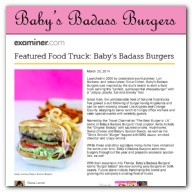 Examiner.com - Featured Food Truck: Baby's Badass Burgers