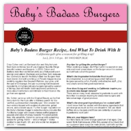 Food Republic - Baby's Badass Burger Recipe, And What To Drink With It